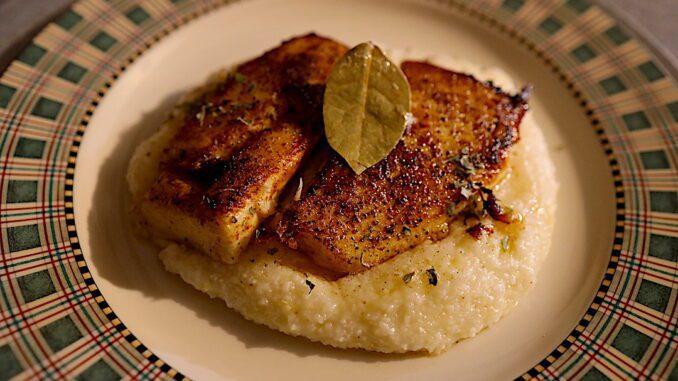 pan seared halibut with cajun parmesan grits